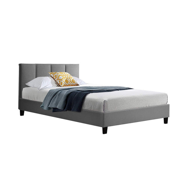 ANNA Bed Frame Single Size Mattress Base Platform Fabric Wooden Grey