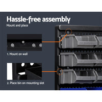 60 Bin Wall Mounted Rack Storage Tools Garage Organiser Shed Work Bench