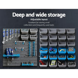 88 Parts Wall-Mounted Storage Bin Rack Tool Garage Shelving Organizer