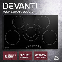 Devanti 90cm Ceramic Cooktop Electric Cook Top 5 Burner Stove Hob Touch Control 6-Zones