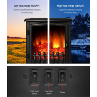 Devanti Electric Fireplace Wood Heater Portable Fire Log Flame Effect Winter Warm 1800W