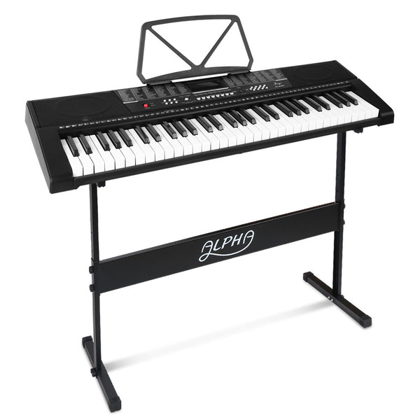 Alpha 61 Keys Electronic Piano Keyboard LED Electric w/Holder Music Stand USB Port