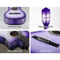 "Alpha 34"" Inch Guitar Classical Acoustic Cutaway Wooden Ideal Kids Gift Children 1/2 Size Red or Purple with Capo Tuner"