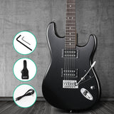 Alpha Electric Guitar Music String Instrument Rock Black Carry Bag Steel String
