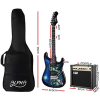 Alpha Electric Guitar And AMP Music String Instrument Rock Blue Carry Bag Steel String