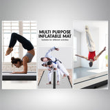 4m x 1m Air Track Inflatable Tumbling Mat Gymnastics - Grey Black