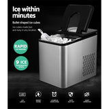 2.2L Ice Maker 12KG Portable Ice Makers Cube Tray Bar Home Countertop Silver