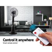 Devanti Mist Fan Pedestal Fans Cool Water Spray Timer Remote 5 Blades Black