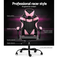 Artiss Office Chair Gaming Chair Computer Chairs Recliner PU Leather Seat Armrest Black Pink