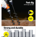Giantz Power Garden Spiral Auger Hole Digger Earth Drill Bit Φ75x300 & 600mm