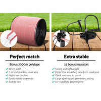 Giantz 3KM Solar Electric Fence Energiser Energizer 0.1J + 2000M Electrical Fencing Wire Tape Farm