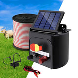 Giantz 3km Solar Electric Fence Energiser Charger with 400M Tape and 25pcs Insulators