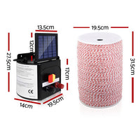 Giantz 5KM Solar Electric Fence Energiser Energizer 0.15J + 2000M Poly Fencing Wire Tape