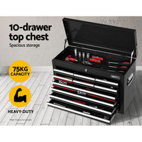 Giantz 17 Drawers Tool Box Trolley Chest Cabinet Cart Garage Mechanic Toolbox Black