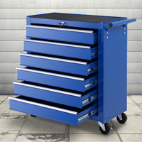 Giantz Tool Box Trolley Chest Cabinet 6 Drawers Cart Garage Toolbox Set Blue