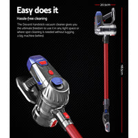 Devanti Handheld Vacuum Cleaner Cordless Stick Handstick Vac Bagless 2-Speed Headlight Red