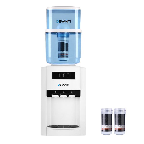 Devanti 22L Bench Top Water Cooler Dispenser Purifier Hot Cold Three Tap with 2 Replacement Filters