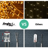 Jingle Jollys 800 LED Christmas Icicle Lights Warm White