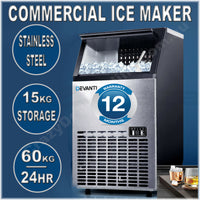 Devanti Stainless Steel Commercial Ice Cube Maker 15KG Storage