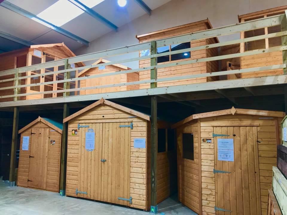 Our range of sheds on show at our showroom in Clitheroe Lancashire