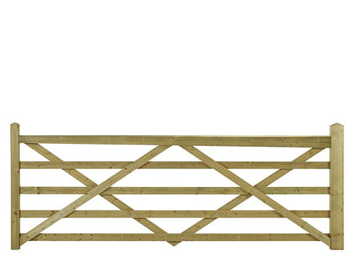 5 bar style entrance gate *Variety of widths* - Greenview Sheds & Fences Ltd