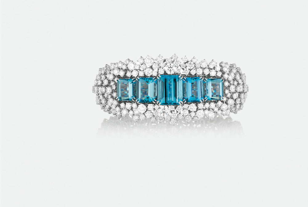 Diamond and Aquamarine High Jewellery Bracelet from NOA fine jewellery