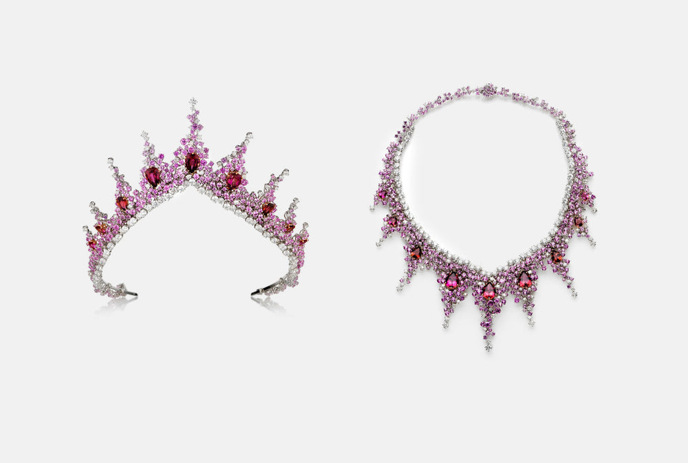 Pink diamonds, ruby and white diamond tiara from NOA's High Jewellery collections