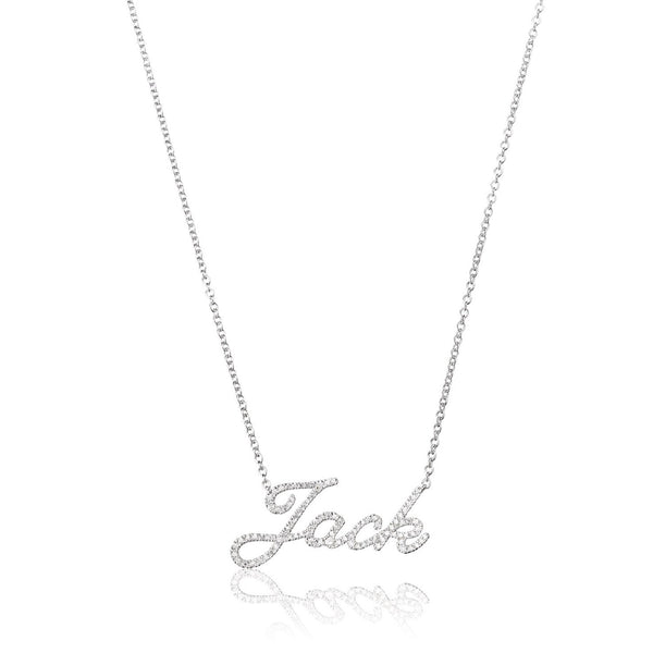 personalised diamond name necklace in white gold