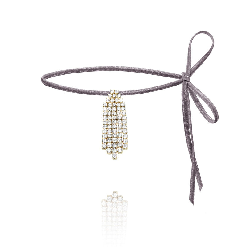Diamond Ray white diamond choker on velvet