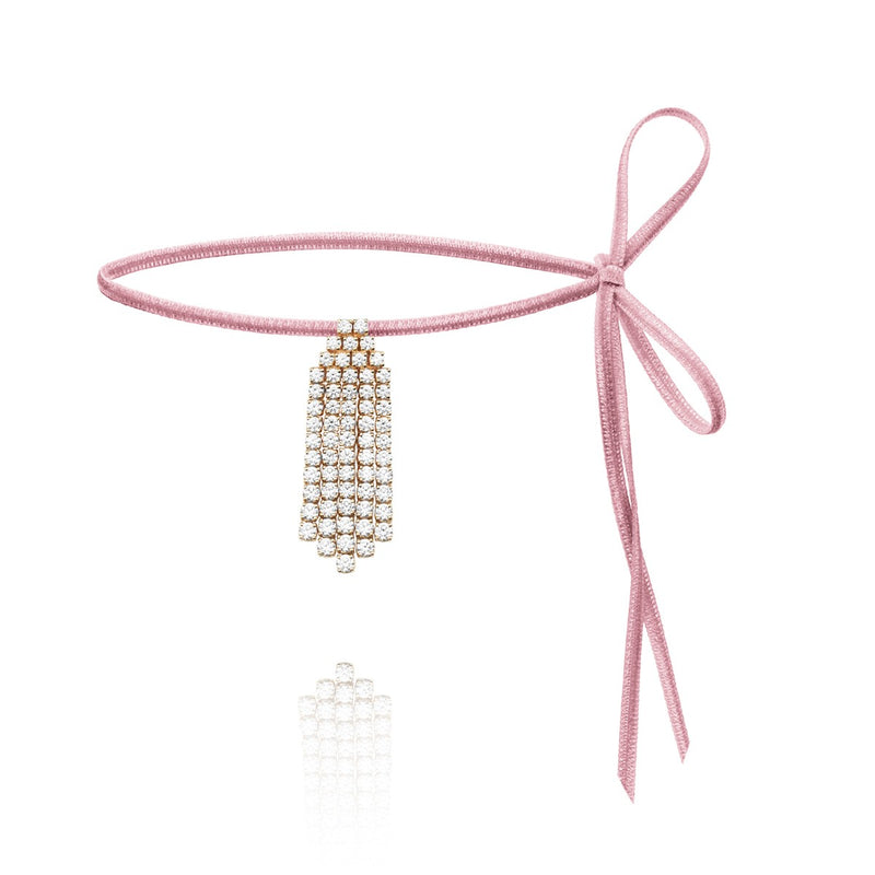 Diamond Ray white diamond choker on pink velvet
