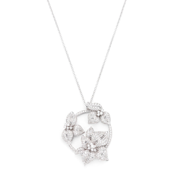 Fleur de Lis triple white diamond and white gold pendant from NOA fine jewellery