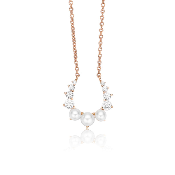 Hannah X NOA mini Horseshoe Diamond Pendant Rose Gold