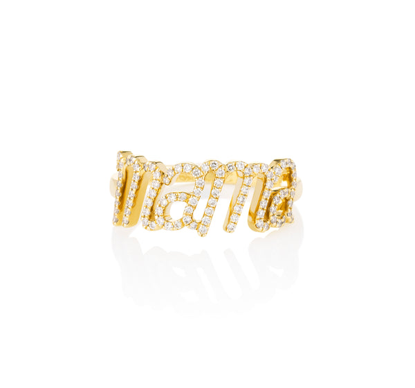 Mama Diamond Ring Yellow Gold