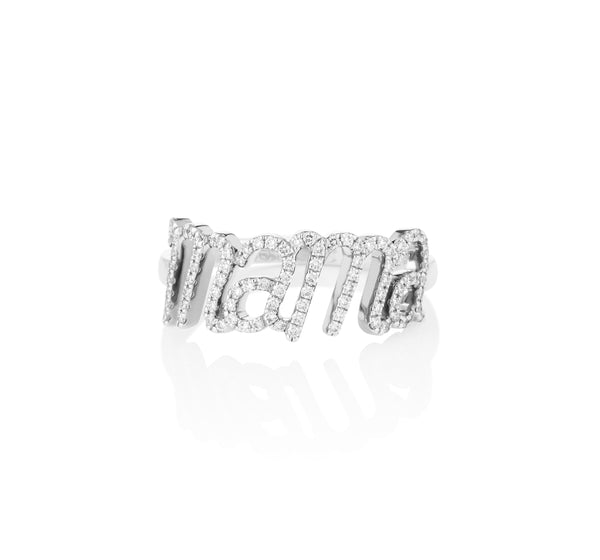 Mama Diamond Ring White Gold