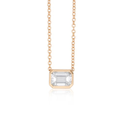 NOA fine jewellery Emerald cut diamond necklace in 18 karat rose gold