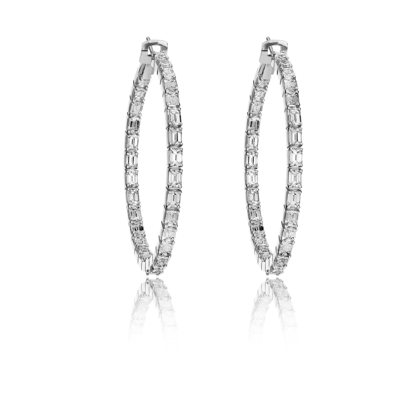 Emerald Hoops in 18 karat White Gold from NOA fine jewellery