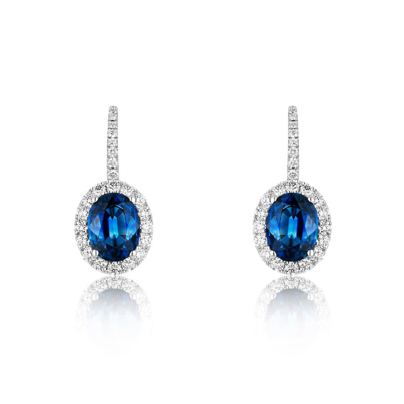 NOA Sapphire and Diamond Cluster Drop Earrings