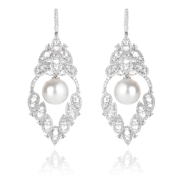 NOA Icons Charleston Earrings in diamond and white pearl