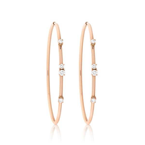 d'Oro Diamond Drop Hoops, Rose Gold