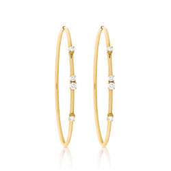d'Oro Diamond Drop Hoops in Yellow Gold
