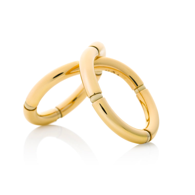 d'Oro Twist Ring Yellow Gold with flexible gold from NOA