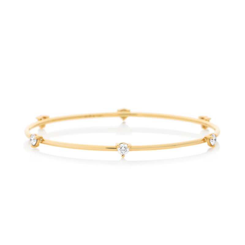 d'Oro Diamond Drop Bangle, Yellow Gold