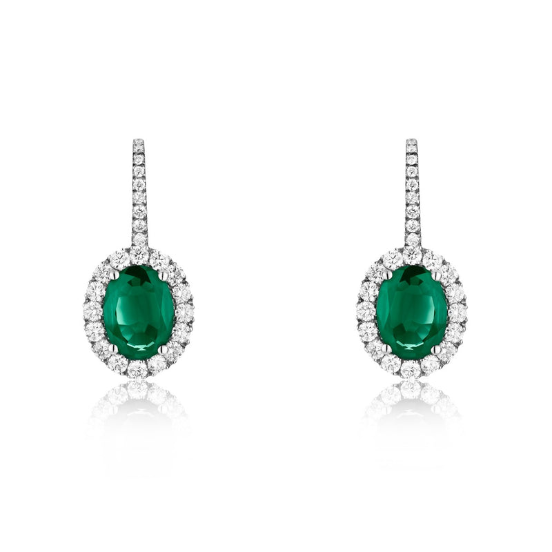 NOA Emerald and Diamond Cluster Drop Earrings