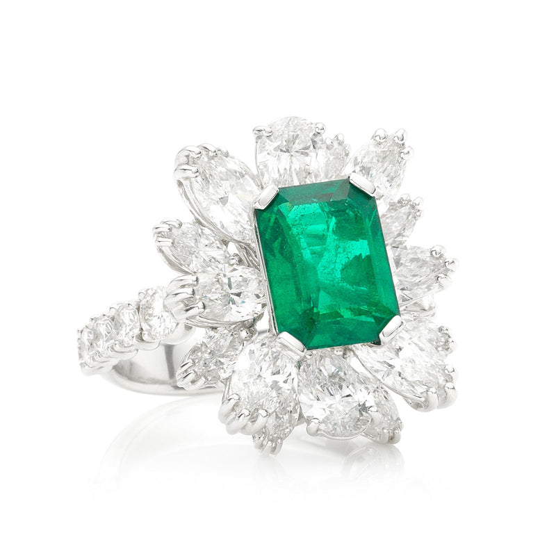 Diamond Cluster Emerald Ring from NOA Icons