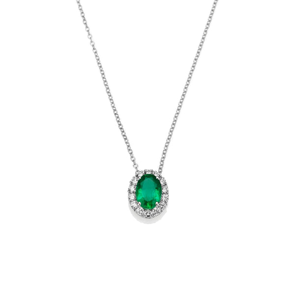 NOA Emerald and Diamond Cluster Pendant