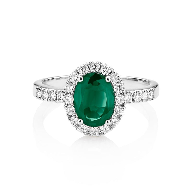 NOA Emerald and Diamond Cluster Ring on 18kt white gold