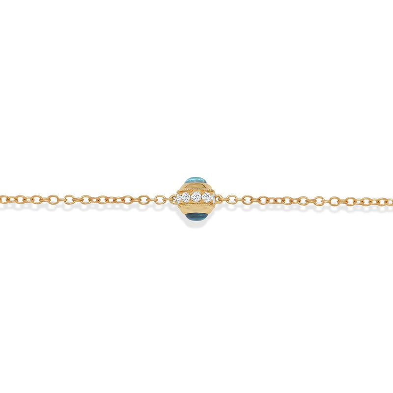NOA mini Evil Eye Mini Bracelet Yellow Gold with diamond and lapis lazuli