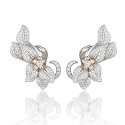 Fleur De Lis Earrings Blush with white and pink diamonds