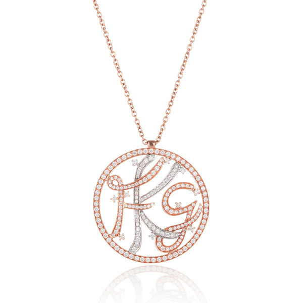 Personalised Diamond Initials Pendant from NOA fine jewellery in 18 karat rose and white gold