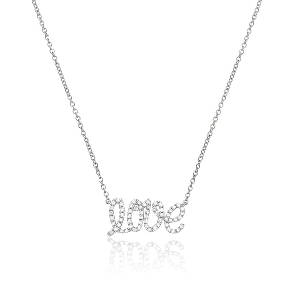 Love Pendant in white gold and white diamonds from NOA mini